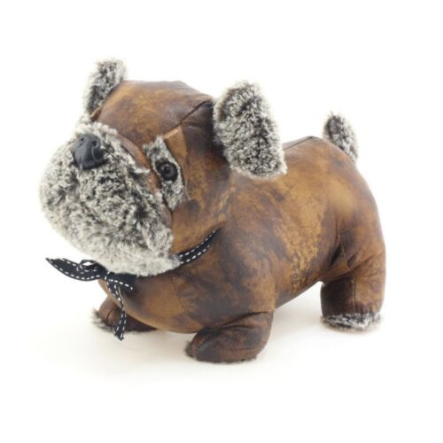 Luxury Large Faux Brown Leather Dog Doorstop Weight Door Stop Novelty Fluffy Pug