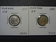 HONG KONG 1884 SCARCE DATE + 1897 QV  TEN / 10 CENTS, 84 SELECT UNC, 97 CH UNC!