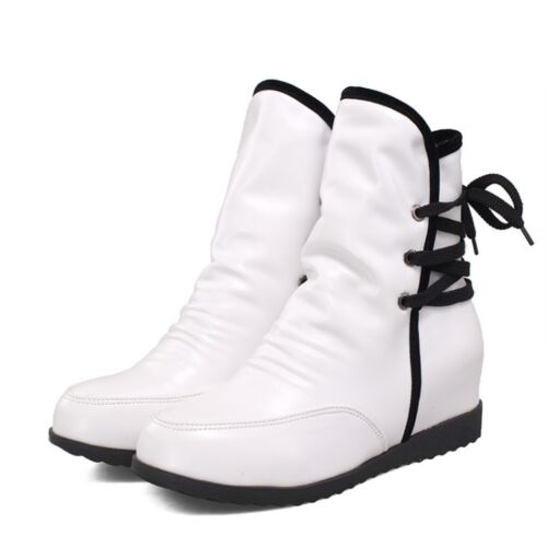 Ladies Womens Faux Leather Lace Up Hidden Wedge Heels Slouch Shoes Ankle Boots@@