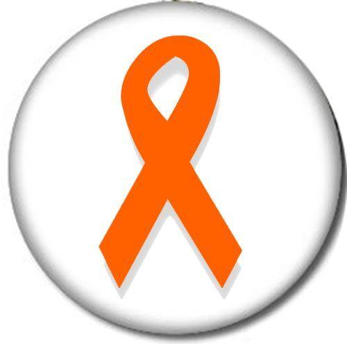 ORANGE RIBBON Pin-Back Button Pin 6 SIZES ADHD Awareness Lupus Leukemia Kidney