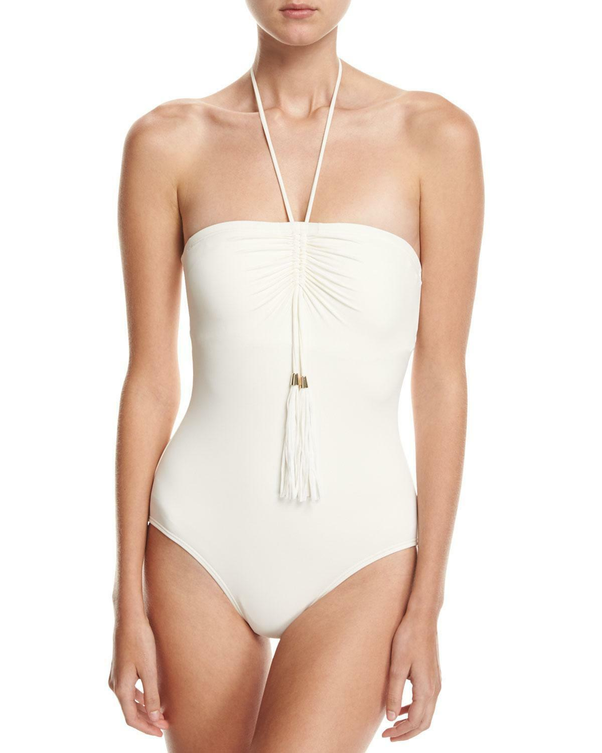 NWT Vince Camuto Swimsuit TASSEL-ACCENT 1 ONE-PIECE Ivory size 4