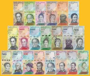 Venezuela-Full-Set-2-100000-Bolivares-amp-2-500-Soberanos-21-banknotes-UNZ