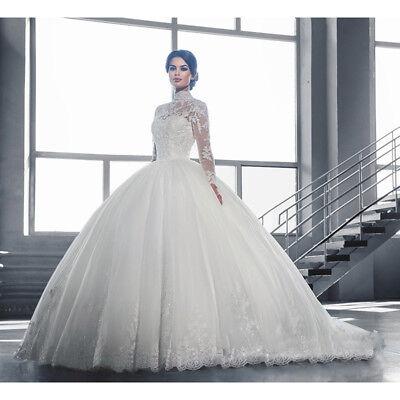 UK Womens Lace Long Sleeve Wedding Dresses Ball Gown White Plus Size Bride  | eBay
