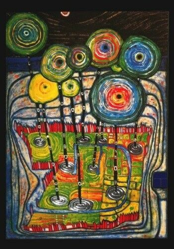 "Kunstkarte Hundertwasser /""Park Jardin Public /"""