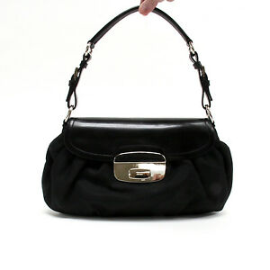 caec5f5a48bb Image is loading Prada-Black-Nylon-Leather-Silver-Hardware-Flap-Shoulder-