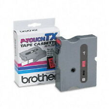 "Brother TX-4511 1"" Black On Red P-touch Tape, TX4511 Genuine ptouch label"