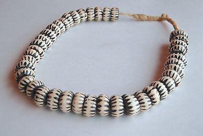 Vintage African Batik Bone Tribal Beaded Necklace Masai Kenya African Batik Bone Bead Necklace Handcrafted Ethnic Necklace