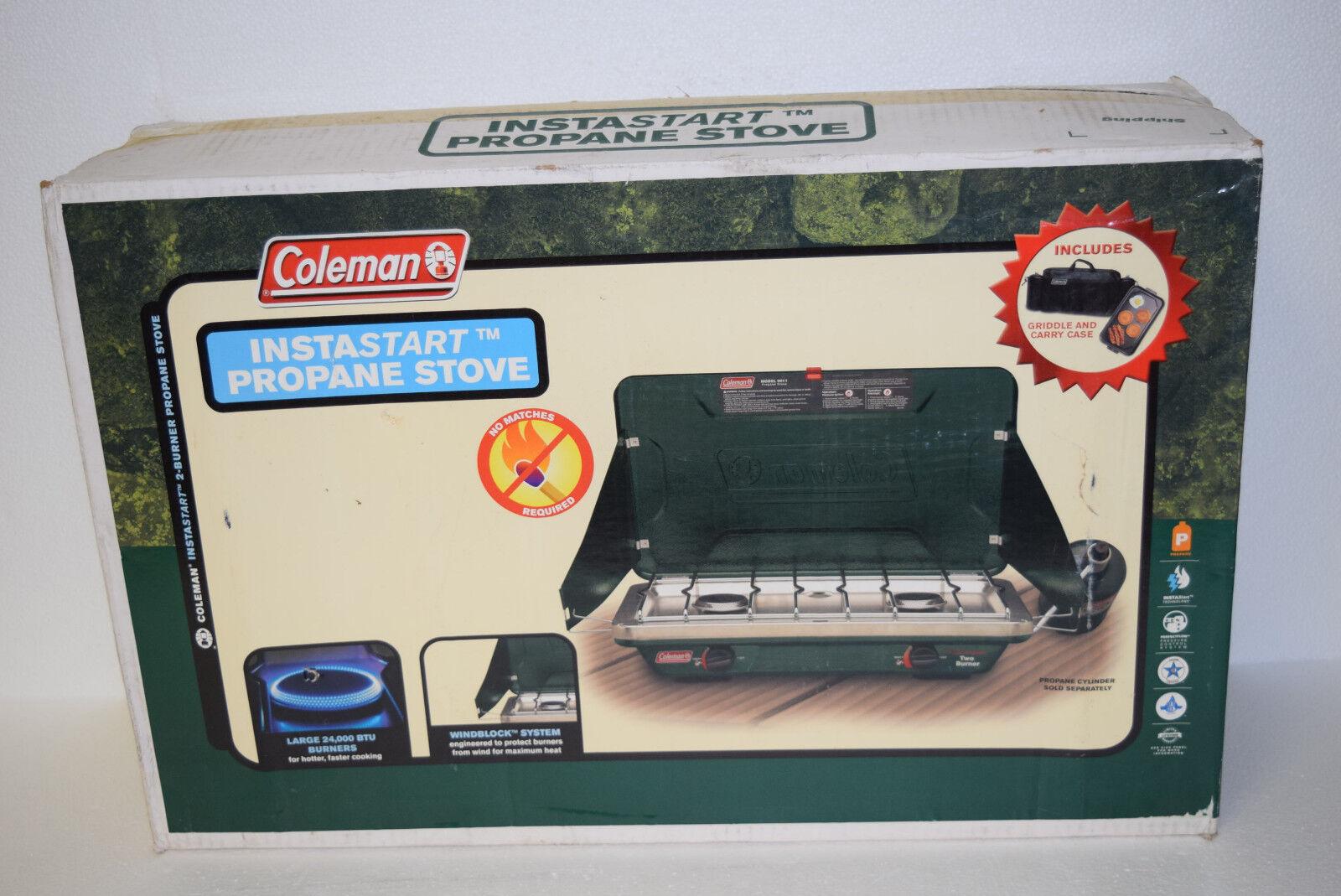 Coleman 9912A768 InstaStart Propane Stove 2-Burner 24,000 BTU w Griddle & Case