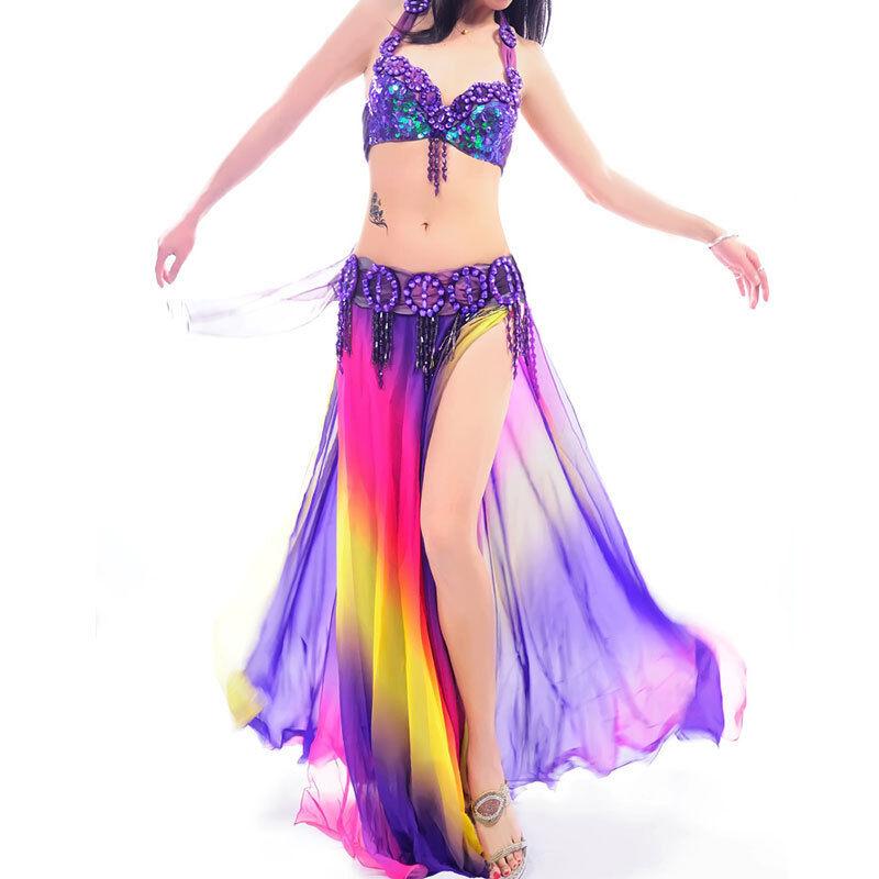 A008 Professional Belly Dance Costume 3 pieces Bra Belt Skirt Aurora