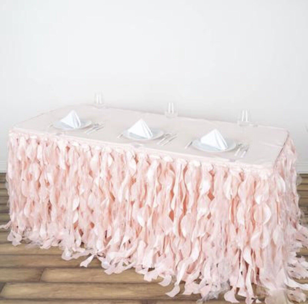 3 PC Bundle Rose or bleush Curly Willow Taffeta Table Skirt And Tablecloth Clip