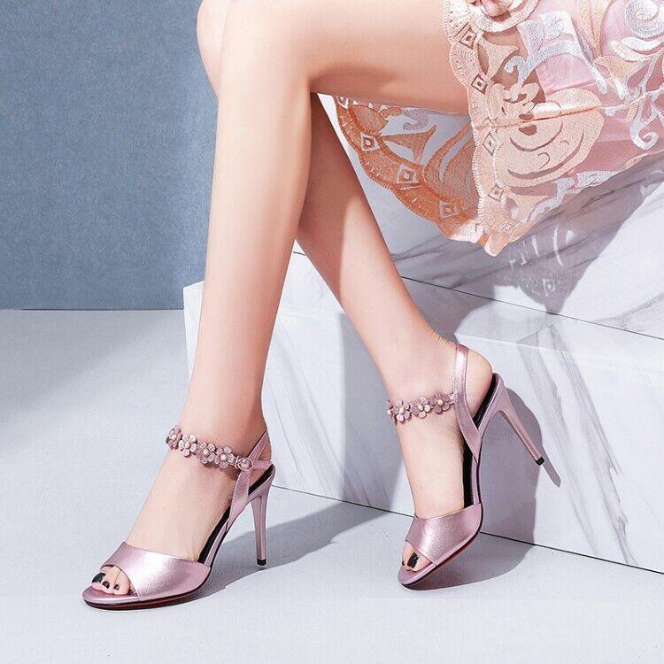 Summer New femmes Floral High Heel Elegant Buckle Slingback Peep Toe Slim chaussures