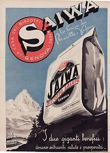 PUBBLICITA-039-1940-BISCOTTI-WAFER-SAIWA-GENOVA-SALUTE-CERVINO-COOKIES-G-D-039-ANNUNZIO