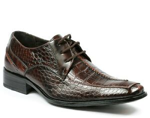 Delli-Aldo-Men-039-s-Crocodile-Print-Lace-Up-Oxford-Dress-Classic-Shoes-M-18625
