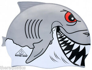 GREAT WHITE SHARK CRITTER Learn to Swim Cap Silicone Kids Swimming Reef 39700GW