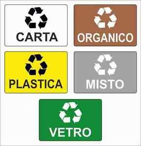Set 5 adesivi riciclaggio 180x120 mm carta vetro plastica - Rifiuti umido ...