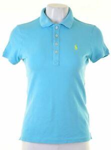 RALPH-LAUREN-Womens-Polo-Shirt-Size-12-Medium-Blue-Cotton-Slim-Golf-Fit-GR18