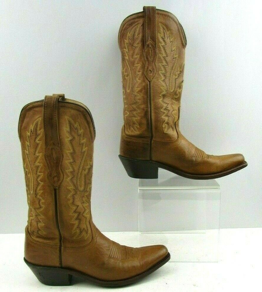 Ladies Old West Brown Leather Western Cowgirl Boots Size   6