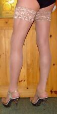 Extra Long Natural 15 Denier Lace Top Satin Sheen Hold Up Stockings High Quality