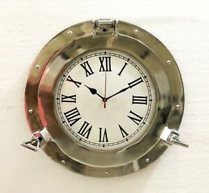 Nautical Antique Brass Ship Porthole Clock Beach Style Wall Clock Home Decor