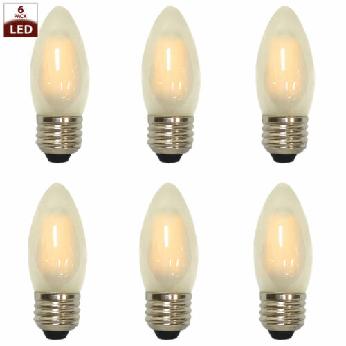 Frosted Candle Shape Vintage Edison Medium Base Dimmable LED Light Bulbs, 6 Pack