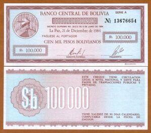 100,000 100000 Pesos Bolivianos UNC P-188 Bolivia 1984