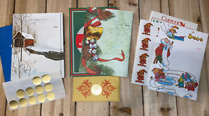 VIntage Current Just A Note Fold Seal Stationery Christmas- 3 Designs- 29 Cards