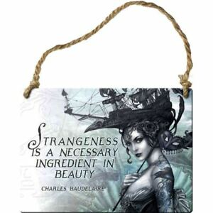 Alchemy-Gothic-Strangeness-Is-Necessary-Steel-Metal-Hanging-Wall-Plaque-Sign-9cm