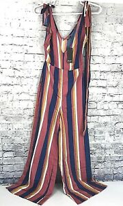 cfd097cd6f11 Nasty Gal Womens Size US 6 Striped Jumpsuit Straight Up V Neck Pink ...