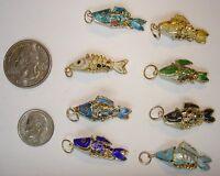 100 Vintage Cloisonne Colorful Wiggly Fish Pendants Circa 1990's