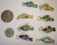 100 Vintage Cloisonne Colorful Wiggly Fish Pendants Circa 1990's