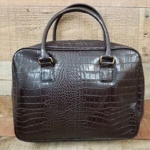 Alligator-Tote-Bag-Zipped-Handbag-Purse-Embossed-Faux-Leather-Dark-Brown-13-034