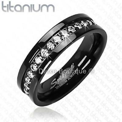 Solid Titanium Black IP Cubic Zirconia Eternity Wedding Band Ring Size 6-13