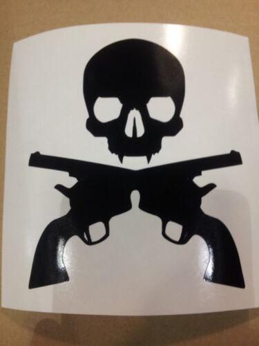 STICKER AUTOCOLLANT SKULL GUN TETE DE MORT STICKERS VOITURE TUNING PAREBRISE