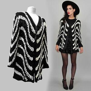 Vintage-Frank-Usher-Sequin-Jacket-Embroidered-Art-Deco-Silk-Blazer-Flapper-80er