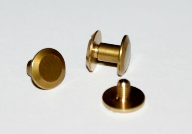 SMALL 9mm CHICAGO SCREW/STUDS/RIVETS  BELT STRAP FASTENERS SOLID  BRASS/NICKEL