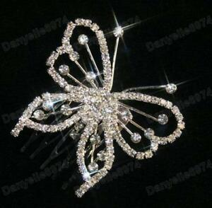 BUTTERFLY-rhinestone-CRYSTAL-HAIR-COMB-clip-pin-BRIDAL