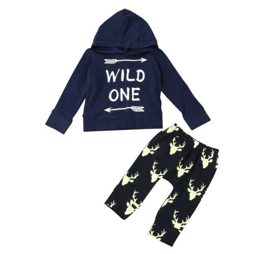 Toddler Infant Baby Girls Boys Print Clothes Hooded Tops+Pants Warm Outfits 2pcs