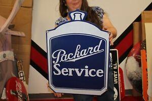 """Large Packard Service Car Dealership Gas Oil 2 Side 27"""" Porcelain Metal Sign"""