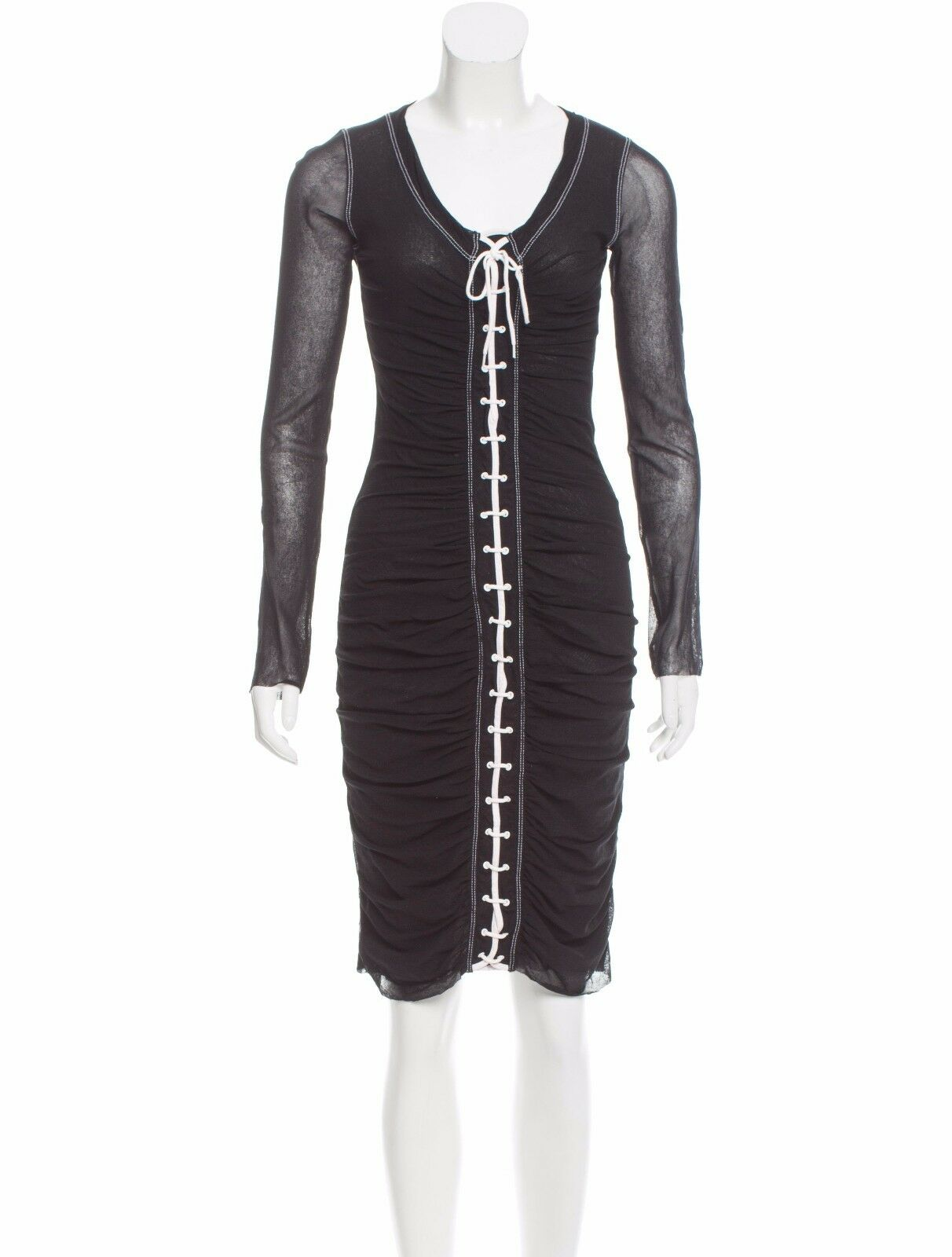 SEXY, UBER FLATTERING NWT JEAN PAUL GAULTIER MESH DRESS WITH WHITE LACE UP FRONT