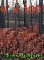 Orange Safety Snow Construction Field Barrier Garden Farm Fence 4' X 100'