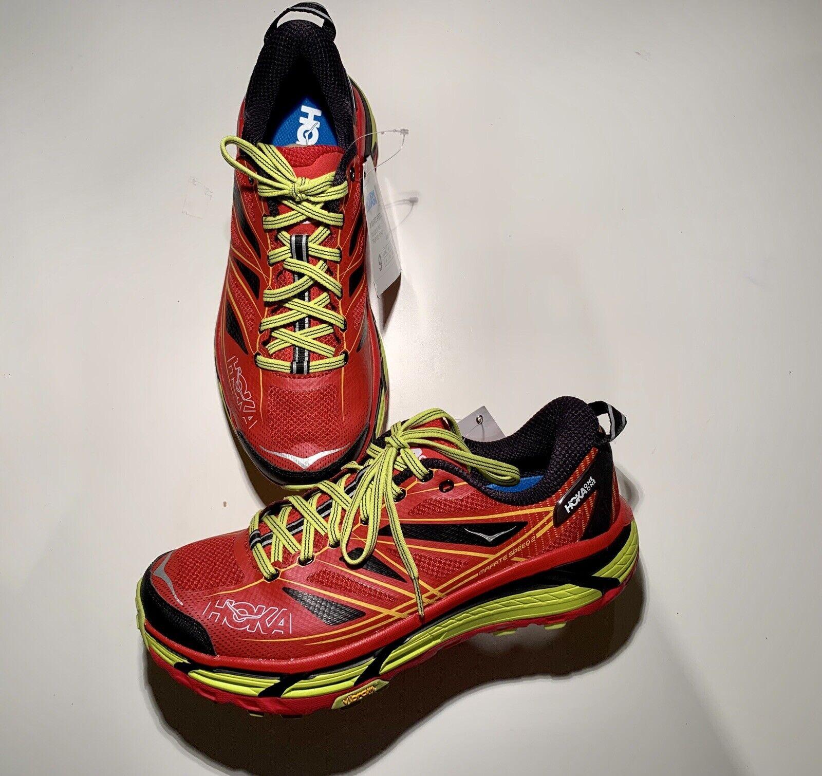 Hoka One One Men's Mafate Speed 2 Running shoes True Red Citrus Size 9M BA