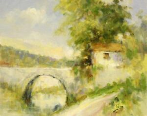 Stone-Bridge-by-Alex-Perez-Oil-Painting-on-Unstretched-Canvas
