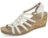 Life Stride Neva Platform Wedge Sandals White Sz 8 Med