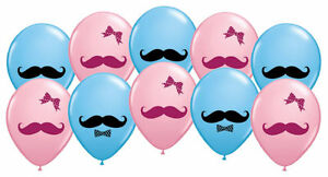 10pc 11 gender reveal mustache ribbons latex party balloon twin