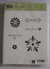Stampin Up Retired With All My Heart Set of 6 Clear Mount Stamp 118623