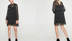 Dress Kontrast 0787 Lace 222 Kleid Zara White Mit Spitze Basic Black 4068wq5Ox