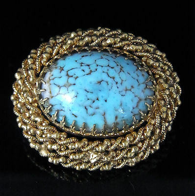 GORGEOUS Large Vintage Brooch 9k Yellow Gold Turquoise Estate Mid Century