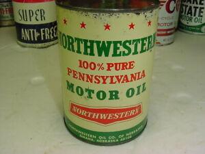 GRAPHIC Hard to Find Original 1950s era NORTHWESTERN MOTOR OIL Old 1 qt. Tin Can