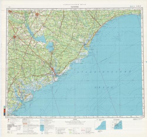 Russian Soviet Military Topographic Maps USA ed.1983 CHARLESTON 1:500 000
