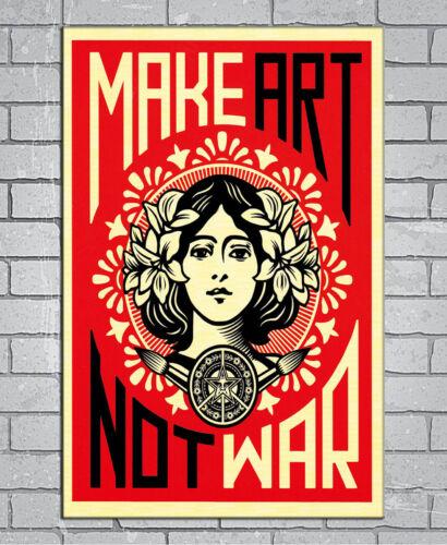 D-735 New MAKE ART NOT WAR 27x40IN fabric Art Poster